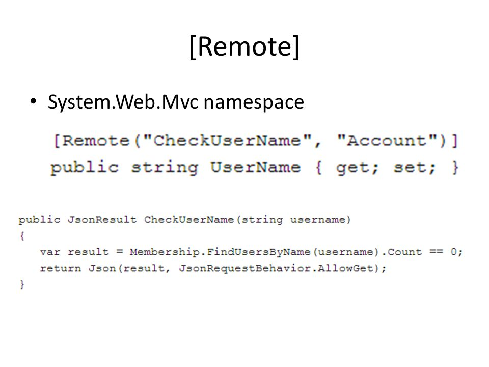 [Remote] System.Web.Mvc namespace